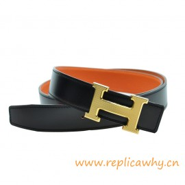 Original Clemence Reversible Belt Orange with Guillochee H Buckle