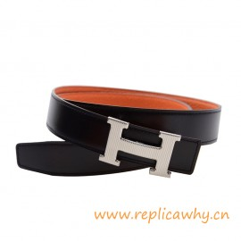 Original Clemence Reversible Belt Orange with Etched H Buckle