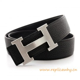 Original Clemence Reversible H Gürtel schwarz mit schwarzen Nähten