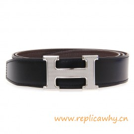 Original Clemence Reversible Belt Coffee with Guillochee H Buckle