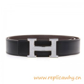 Original Clemence Reversible Belt Coffee with Full Diamonds H Buckle
