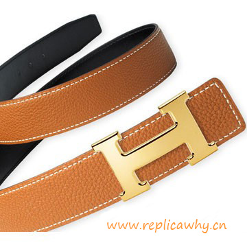 Top Quality Original Calfskin Leather Reversible Belt with H Buckle