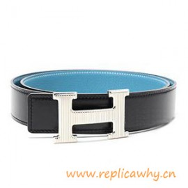 Original Clemence Reversible Belt Sky Blue with Etched H Buckle