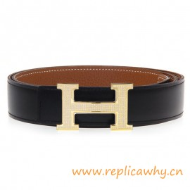 Original Clemence Reversible Belt Brown with Full Diamonds H Buckle
