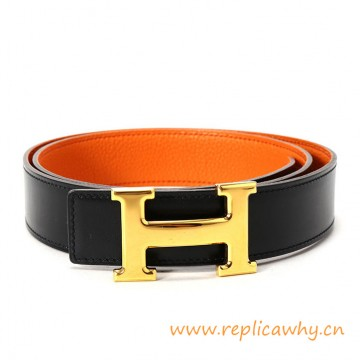 Original Clemence Reversible Polished H Buckle Belt Orange with Orange Stitching
