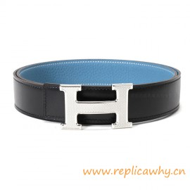 Original Clemence Reversible Belt Sky Blue with Guillochee H Buckle