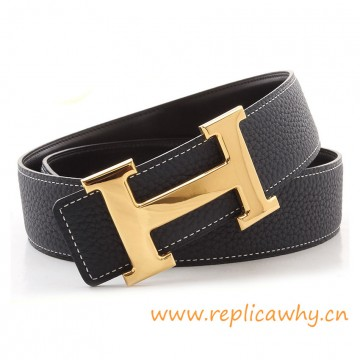 Original Clemence Reversible Belt Navy Blue with H Buckle