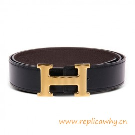 Original Clemence Reversible Belt Coffee with Etched H Buckle