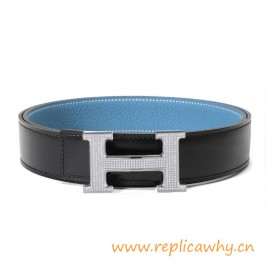Original Clemence Reversible Belt Sky Blue with Full Diamonds H Buckle