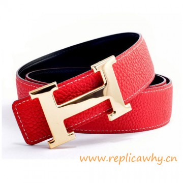 Original Clemence Reversible Belt Sao Red with H Buckle