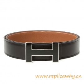 Original Clemence Reversible Belt Lacquered Black Buckle with Silver Edge
