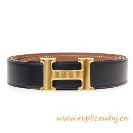 Original Clemence Reversible Belt Brown with Etched H Buckle