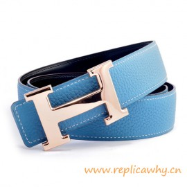 Original Clemence Reversible Belt Blue with Rose Gold Polished H Buckle