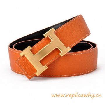 Original Clemence Reversible Belt Orange with H Buckle