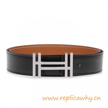 Original Clemence Leather Reversible Belt with Au Carre Double H Buckle