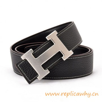 Original Clemence Reversible Belt Charm Black with H Buckle