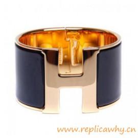 Original Wide Clic-Clac H Bracelet With Charm Black Enamel