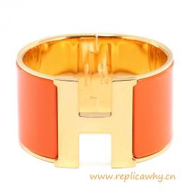 Original Wide Clic-Clac H Bracelet With Orange Enamel