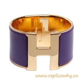 Original Wide Clic-Clac H Bracelet With Purple Enamel