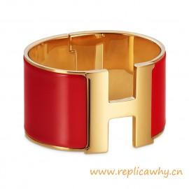 Original Wide Clic-Clac H Bracelet With Sao Red Enamel