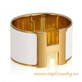 Original Wide Clic-Clac H Bracelet With Snow White Enamel