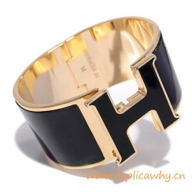 Original Design Click Clack Super Wide H Bracelet with Black Enamel