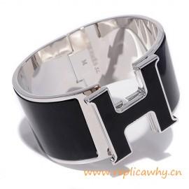 Original Design Super Wide H Bracelet with Black Enamel