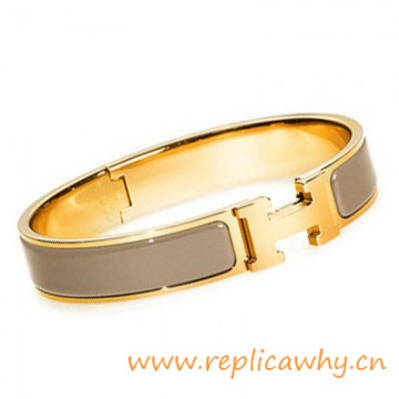 Original H Narrow Bracelet Gold Plated with Taupe Enamel