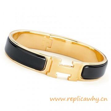 Original H Narrow Bracelet Gold Plated with Black Enamel