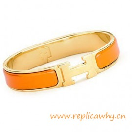 Original H Narrow Bracelet Gold Plated with Orange Enamel