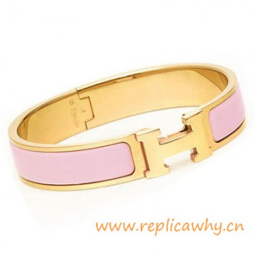 Original H Narrow Bracelet Gold Plated with Pink Enamel
