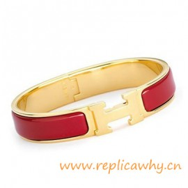 Original H Narrow Bracelet Gold Plated with Sao Red Enamel
