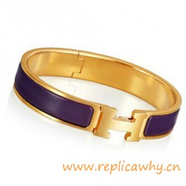Original H Narrow Bracelet Gold Plated with Purple Enamel