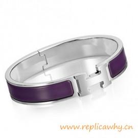 Original H Narrow Bracelet Sterling Silver with Purple Enamel
