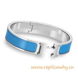 Original H Narrow Bracelet Sterling Silver with Sky Blue Enamel