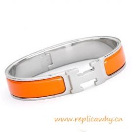 Original H Narrow Bracelet Sterling Silver with Orange Enamel