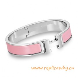 Original H Narrow Bracelet Sterling Silver with Pink Enamel