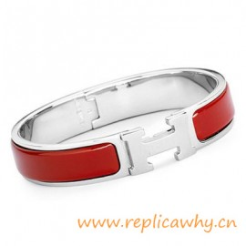 Original H Narrow Bracelet Sterling Silver with Sao Red Enamel