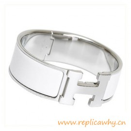 Original Clic Clac H Bracelet with Snow White Enamel