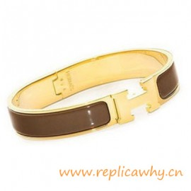 Original H Narrow Bracelet Gold Plated with Coffee Enamel