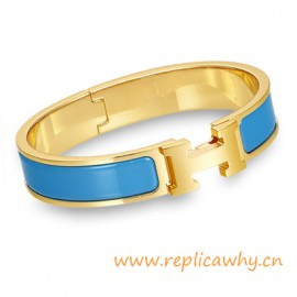 Original H Narrow Bracelet Gold Plated with Sky Blue Enamel