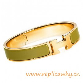 Original H Narrow Bracelet Gold Plated with Green Enamel