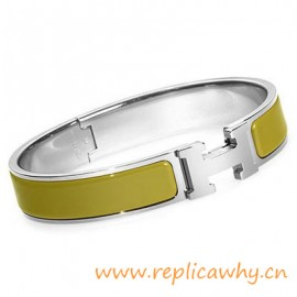 Original H Narrow Bracelet Sterling Silver with Green Enamel