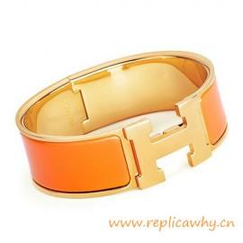 Original Clic Clac H Bracelet with Orange Enamel