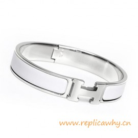 Original H Narrow Bracelet Sterling Silver with Snow White Enamel