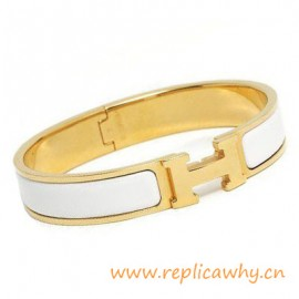 Original H Narrow Bracelet Gold Plated with Snow White Enamel