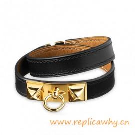 Original Quality Pyramid Rivale Leather Narrow Bracelet Black