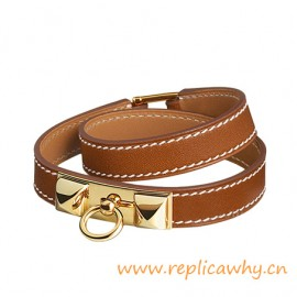 Original Quality Pyramid Rivale Leather Narrow Bracelet Brown