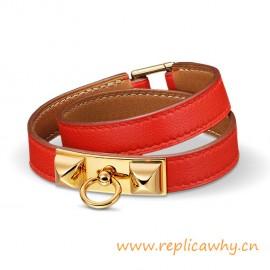 Original Quality Pyramid Rivale Leather Narrow Bracelet Sao Red