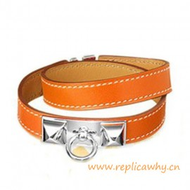 Original Quality Pyramid Rivale Leather Narrow Bracelet Orange